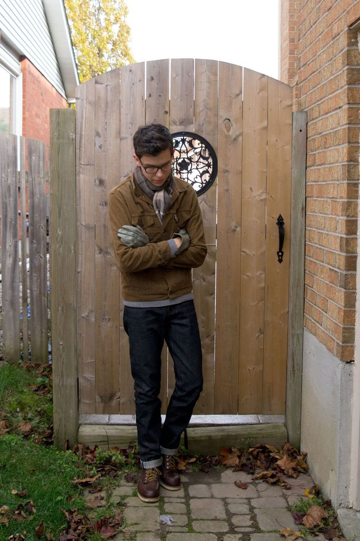 Men's Brown Barn Jacket, Navy Jeans, Burgundy Leather ...