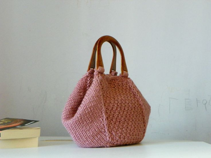 Knitting Tote, women fashion Fall fashion color, knit purse, autumn fashion color powder pink - gifts idea autumn Bag. $115.00, via Etsy.