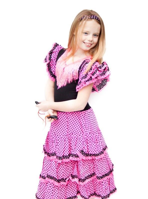 Spaanse jurk roze zwart kant NIEUW