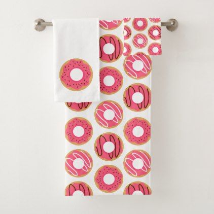 Cute Pink Donuts Pattern Bath Towel Set - home gifts ideas decor special unique custom individual customized individualized