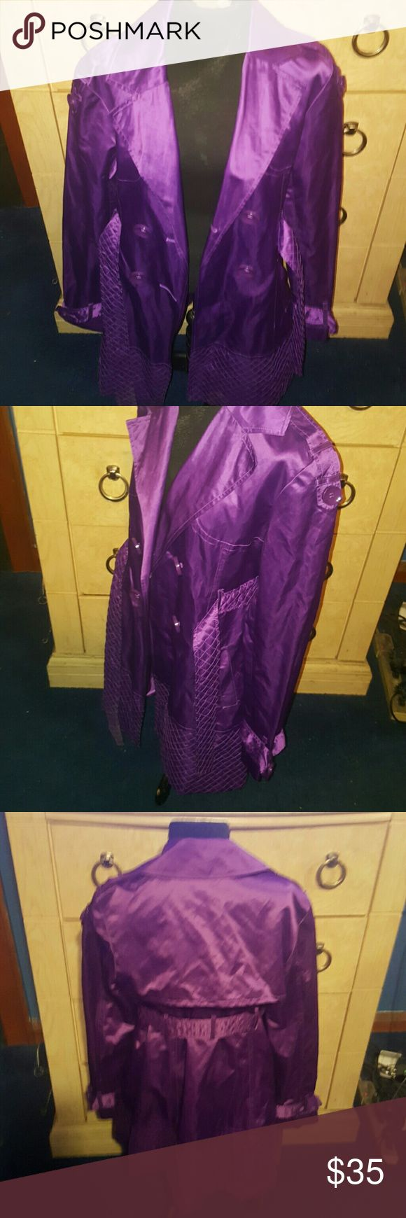 Purple trench Belted jacket buttons good condition!!! Jackets & Coats Trench Coats