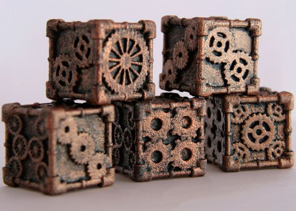 Steampunk style dice.  Awesome!