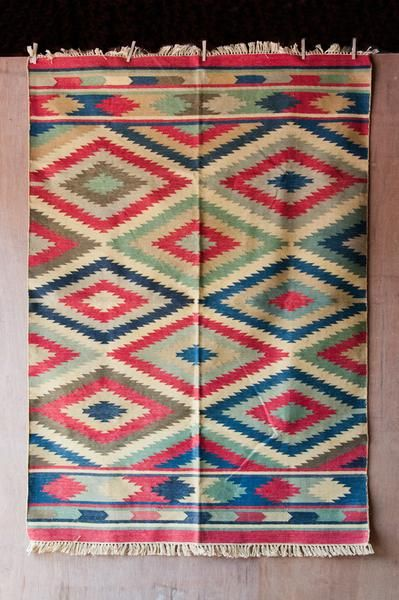 Hand Loomed Southwestern Flat-Weave Dhurrie Rug - Red/Green/Blue - Rugs & Runners - Shop Nectar - 1