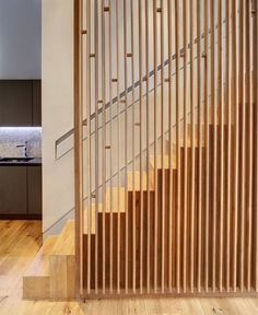 slatted oak vertical uprights staircase - Google Search