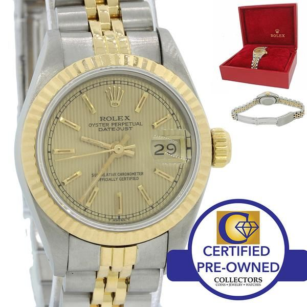 Ladies Rolex DateJust 26mm 69173 Two Tone Gold Steel Jubilee Tapestry Watch w Box  Collectors Brand                                Rolex (Guaranteed Authentic)