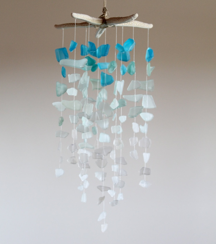 Sea Glass & Starfish Mobile - Ombre Blues, via Etsy.    Maybe I will find enough stuff to make something like this in Floriday!
