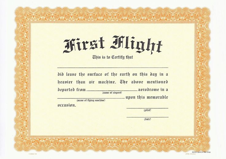 First Flight Certificate Template 678 KBjpg New York - blank stock certificate template free