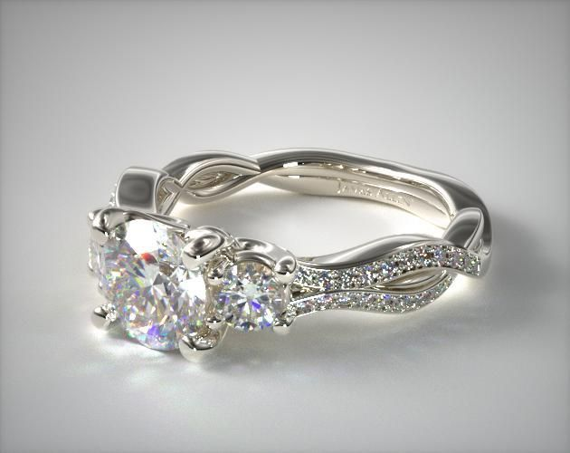 41044 engagement rings, three stone, 14k white gold three stone diamond infinity engagement ring item - Mobile