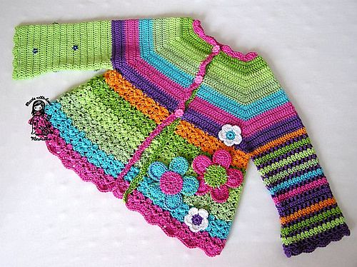 Flower Cardigan by Vendula Maderska #free #crochet | I love this designer's use of colours & textures - so happy!