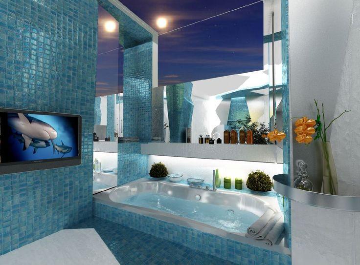 Cool Beach Themed Bathroom Idea And Luxury Bathtub Design Feat Wall Mount  Tv Amazing Bath Feel Along with Cool Bathroom Ideas Bathroom Design