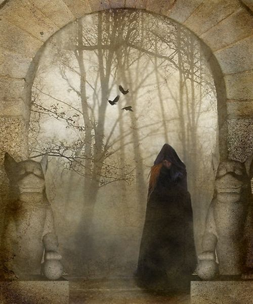 .: Mystic Portal, Creepy, Gothic Witch Goddesses Ravens, Cloaks, Portal Removal, Mystery Maiden, Dreamland Portal, Collection, Drawings Inspiration
