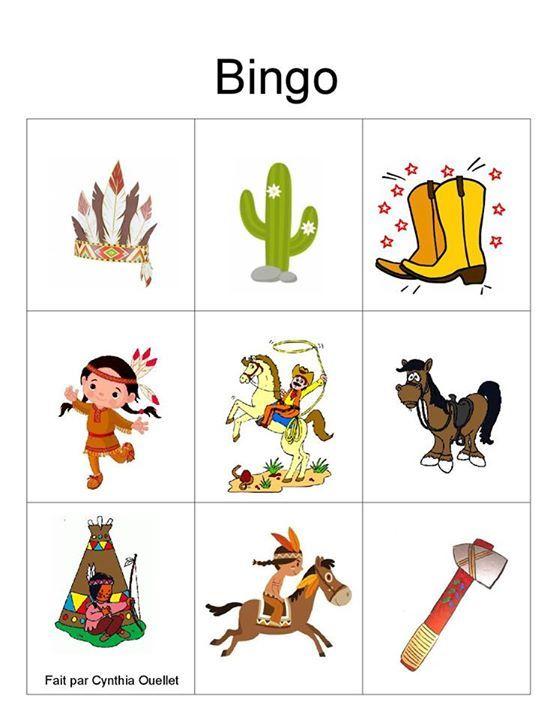 Créer un bingo indiens pour un jeu d'intérieur, récupérer les images sur le thème et créer vos plaques et jetons.