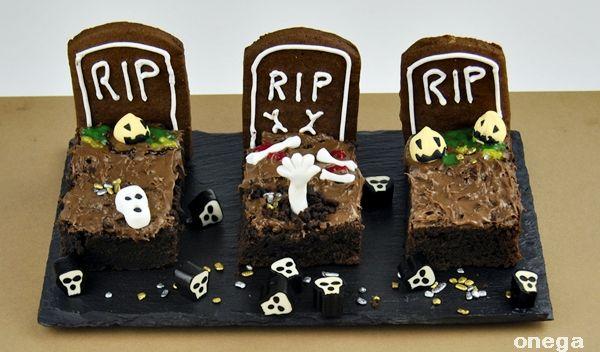 #recetas de #Halloween como hacer #brownies #lapidas de #cementerio #pasteles #dulces #postres
