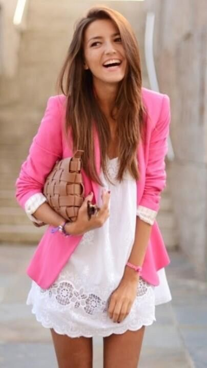 Summer outfit.  #pink & her hair