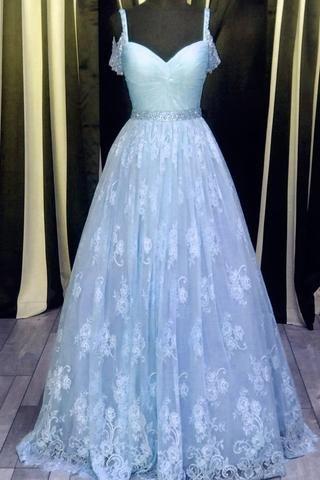 Light blue lace V-neck A-line long prom dress,graduation dresses with straps