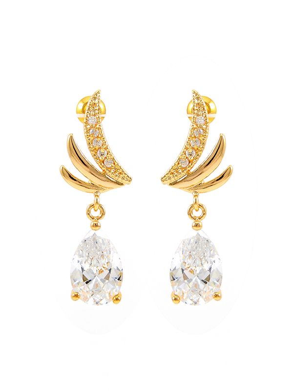wholesale yellow gold wing inspiration drop earrings