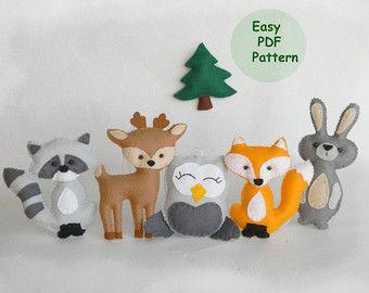 Woodland Animal Nursery Decor Fox Deer Raccoon by EmilyShayArt