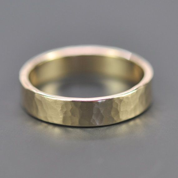 Hammered Finish Bands: Mens 14K Yellow Gold Wedding Band, 5mm Hammered Gold Ring