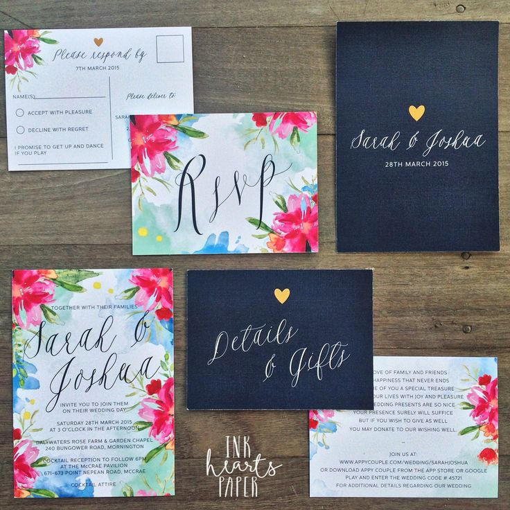 bright pink blue navy floral watercolor watercolour gold With watercolor wedding invitations australia