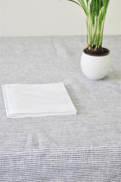 Fog Linen Work Grey Striped Linen Tablecloth