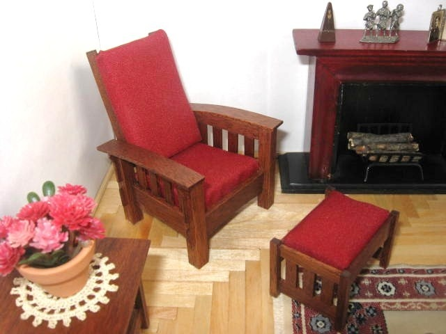 miniature morris chair and matching ottoman via etsy