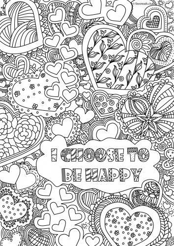 choose to be happy and get the inspirational coloring started free inspiration coloring page - Language Arts Coloring Pages