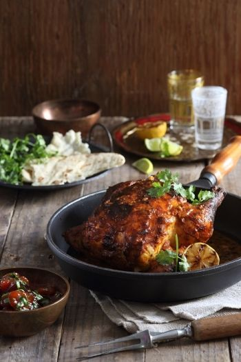 INDIA: Whole Roast Tandoori Chicken with Apricot & Coriander Chutney recipe on http://nomu.co.za