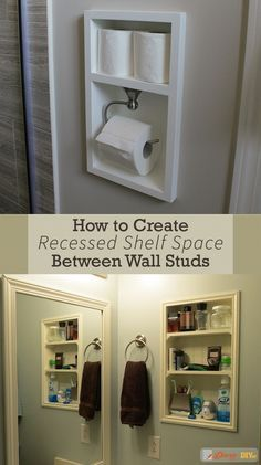 Recessed shelving between studs is a quick and relatively easy way to add more storage space to any room in your home. Simply find where your wall studs are, cut a hole and install the shelf. #DiaryofaDIYer