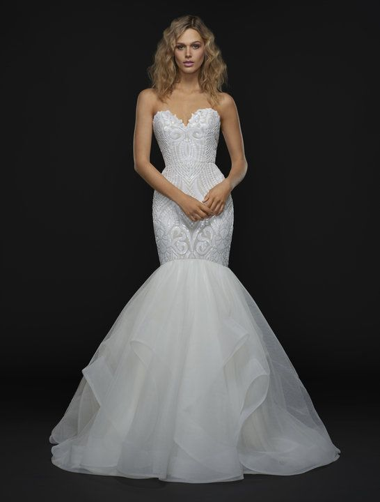Strapless sweetheart mermaid gown with beaded bodice and ruffled skirt. | BLUSH by Hayley Paige | Style: Reece