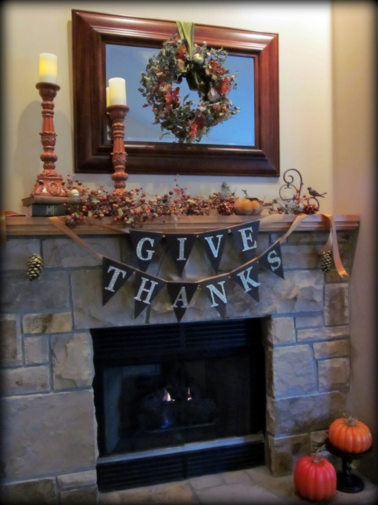 Thanksgiving Mantle & a Homemade Banner