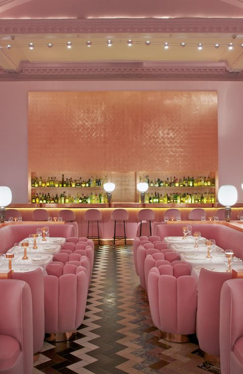 The famous pink Gallery restaurant at sketch in London. Beautiful pink interior design with rose gold finishes. Luxury restaurant design featured on www.martynwhitedesigns.com