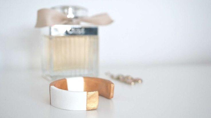 bracciale in pasta di mais o argilla polimerica ecc Crea un Affascinante Bracciale Rigido Bianco e Oro - Fai da Te Style - G...