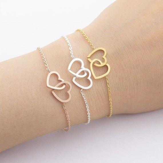 Gold Hearts Bracelet Stainless Steel Bracelet Personalized Two Hearts Bracelet Bridesmaid Gift B Silver Bracelets Simple Gold Heart Bracelet Bff Bracelets