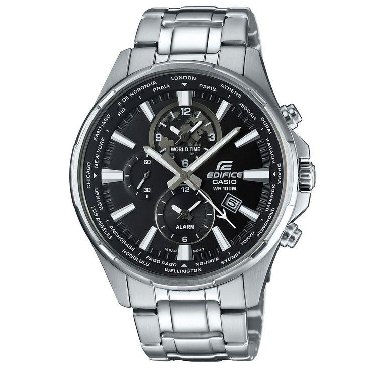 Casio Edifice Alarm & Wereldtijden EFR-304D-1AVUEF. Een stoer vormgegeven horloge van Casio. Met een zilverkleurige band en kast. De wijzerplaat is zwart uitgevoerd. Zowel de wijzers als de index lichten op in het donker als ze kort van te voren aan licht zijn blootgesteld. De kroon wordt door de speciale vormgeving tegen stoten beschermd. Het horloge is voorzien van een sluiting met veiligheidsklepje. Het horloge heeft een alarm en is voorzien van een tweede (wereld)tijd. U heeft de keus…