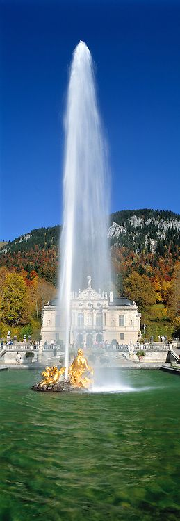 From this golden fountain erupts a forty-foot stream of water, at Linderhof Castle, Bavaria, GERMANY . ©Ric Ergenbright