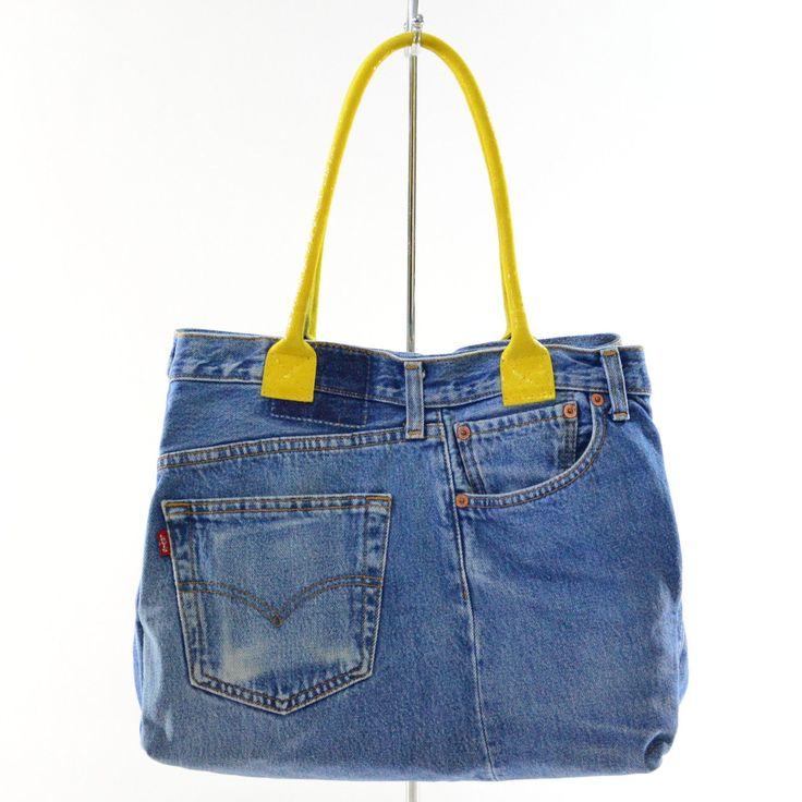 Borsa a mano da donna Jeans style morbida Made in Italy con manici in pelle | eBay