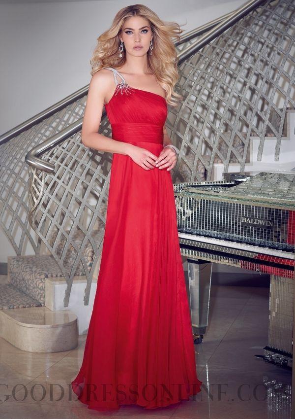 2014 Modern Sheath / Column Floor-length One Shoulder Chiffon Prom Dresses