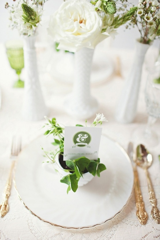 white, green, and gold table setting