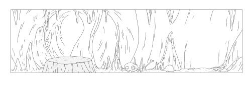 Background layout designs by Clarke Snyder for Cartoon Network's Adventure Time episode, A King's Ransom.