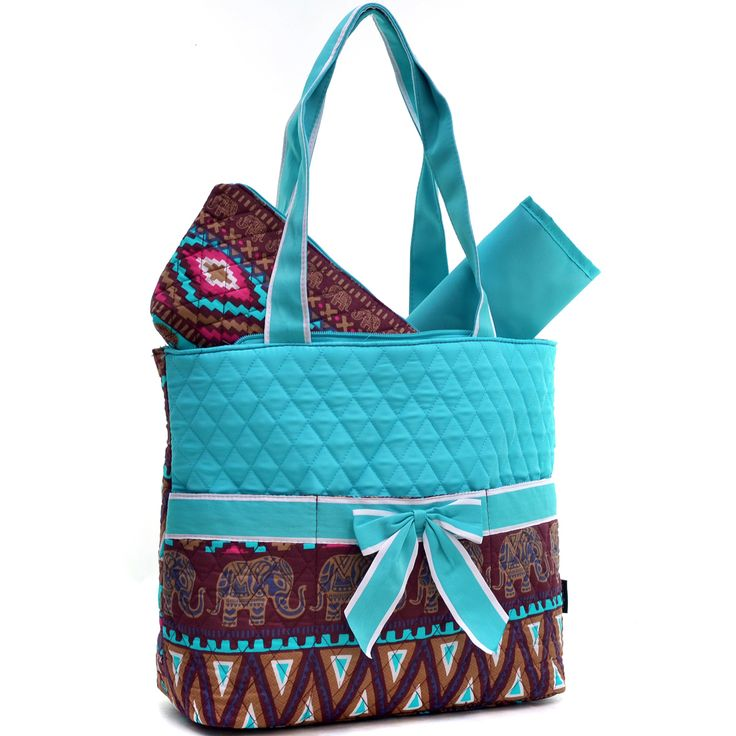 This quilted elephant tribal print diaper bag has cute and baby savvy from head to toe! With rugrat friendly features like three open top front pouch pockets, printed change mat and additional zip top closure poubch, you will feel like the most...