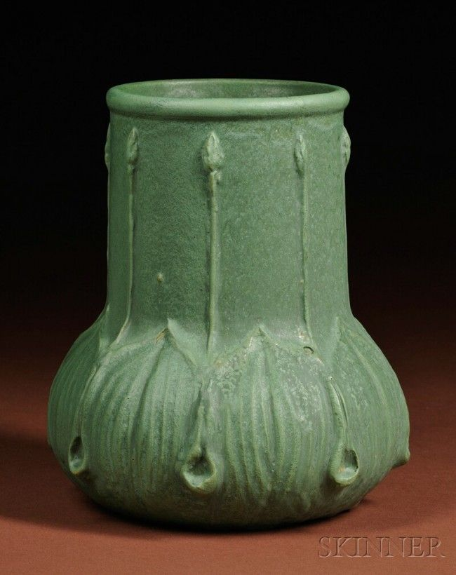 Arts & Crafts Movement Wheatley Pottery Vase  Art pottery  1880-1927  Wide mouth on wide cylindrical neck with bud and trailing stem decoration, a W visible in a circle, and a faint P, numbered 607, ht. 9 1/4 in.