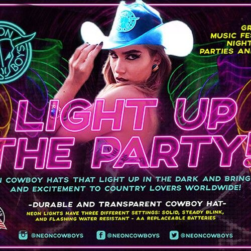 640969871 Vibrant and Fun Banner for Neon Cowboy Hat Company Postcard, flyer ...