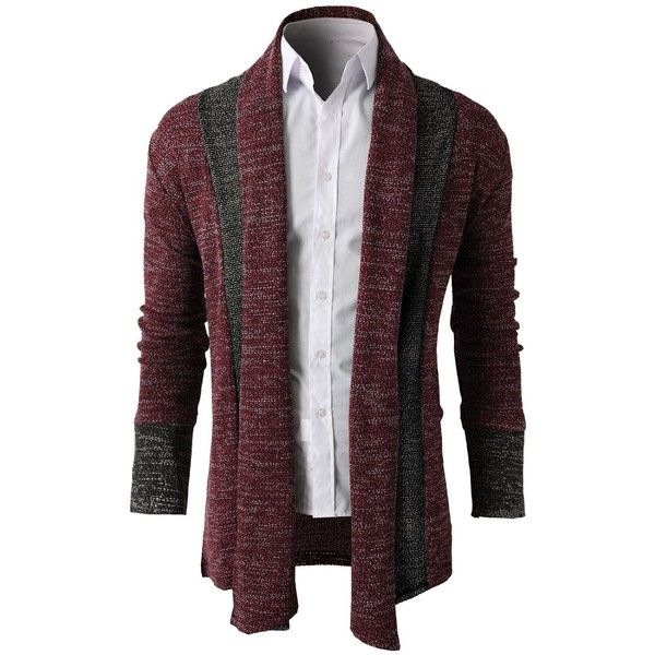 H2H Mens Casual Slim Fit Knit Cardigan with Double Shawl Collar ...