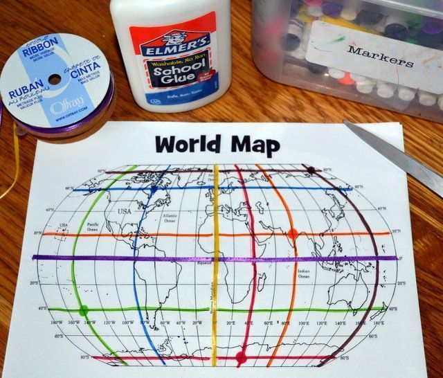 Mapping activity - teaching about coordinates, longitude, latitude, etc.- They use ribbon for the equator and prime meridian!