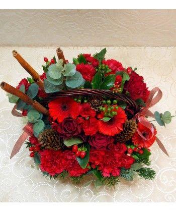 Aranjament flori rosii de craciun