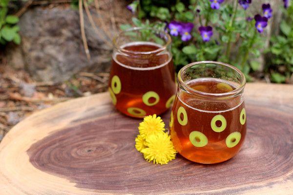 Drinking Vinegar: A Dandelion and Strawberry Shrub Recipe-- chopped dandelion roots, strawberries, balsamic vinegar, apple cider vinegar, honey, steep in fridge one week, mix spoonful with sparkling water, sweeten to taste.