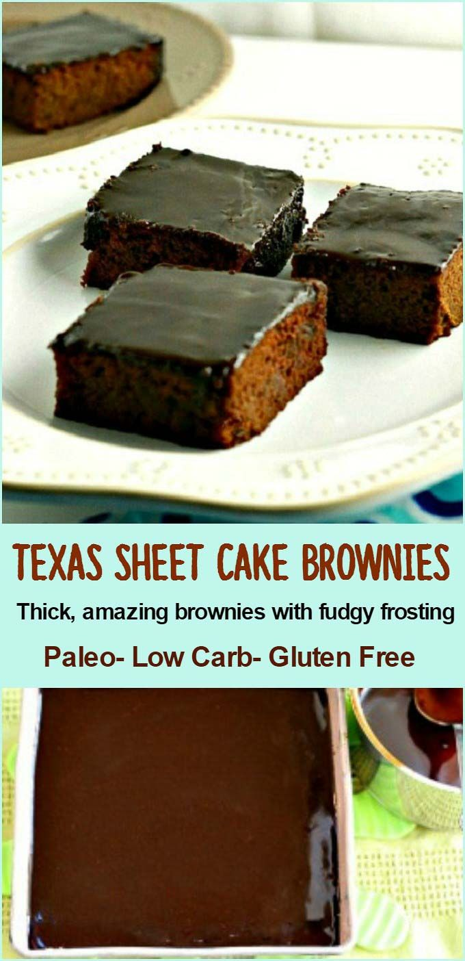 Texas Sheet Cake Brownies- Paleo and low carb. Gluten free , and super tasty fudgy , frosted brownies!