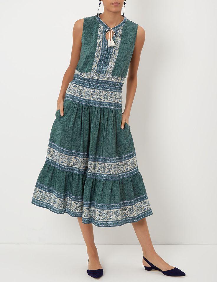 Green Silk Sleeveless Sabine Dress sea ny