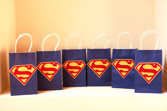 Superman gift bags READY TO SHIP by reginamarieholt on Etsy