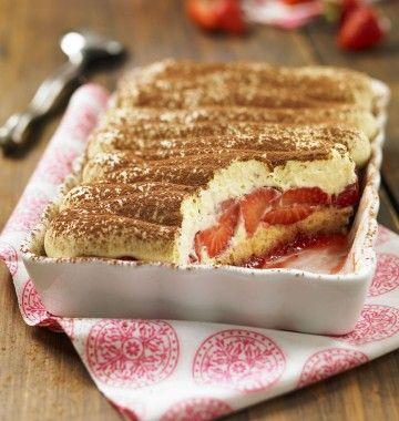 Photo de la recette : Tiramisu aux fraises et Quatre-quarts